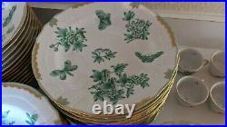20th C 84pc Herend Green Fortuna Queen Victoria Rome Candida Tupini China