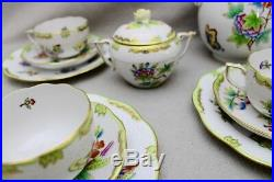 39 Tlg Herend Queen Victoria Kaffees & Tee Service Green Border Grün 1. Wahl