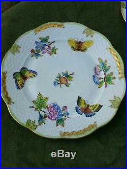 6- Herend Queen Victoria Dessert Plates 517/VBO Green Boarder Butterflies Dishes