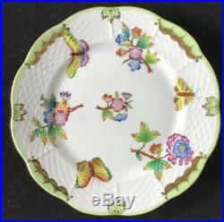 6 Herend Queen Victoria Green Bread Plates 6 1/2 Butterflies Flowers Hungary