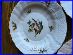 6 Herend Rothschild Bird 7 Bread & Butter Plates 1516 / RO