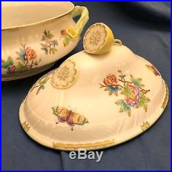 ANTIQUE HEREND HUNGARY QUEEN VICTORIA LARGE OVAL TUREEN and LID (6 QUARTS)