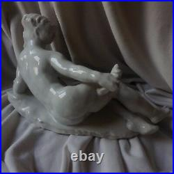 ANTIQUE Herend style NUDE LADY Signed Porcelain Modern Art Deco Girl Figurine
