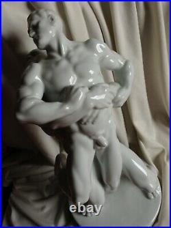 Antique 1936 Berlin Signed Wrestler Fight Herend Porcelain Nude Male Man Hungary