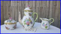 Antique Herend Hungary DESERT SET Queen Victoria Creamer Cups Coffee Pot Sugar