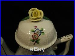 Beautiful Herend Porcelain Queen Victoria Coffee Pot, Rose Finial, Old Mark