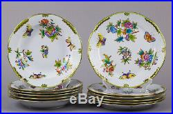 Brand New Herend Queen Victoria Plate Set for Six People, 12 Pieces
