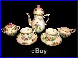 HEREND PORCELAIN HANDPAINTED QUEEN VICTORIA CAPPUCCINO SET FOR 2 PERSONS (7pcs.)