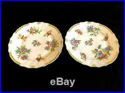 HEREND PORCELAIN HANDPAINTED QUEEN VICTORIA DINNER PLATE 1524/VBO (2pcs.)