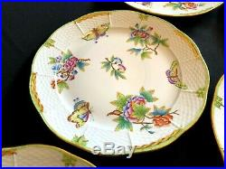 HEREND PORCELAIN HANDPAINTED QUEEN VICTORIA DINNER PLATE 524/VBO (6pcs.)