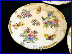 HEREND PORCELAIN HANDPAINTED QUEEN VICTORIA DINNER PLATE 524/VBO (6pcs.) USED