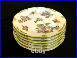 HEREND PORCELAIN HANDPAINTED QUEEN VICTORIA DINNER PLATES 524/VBO (6pcs.) NEW