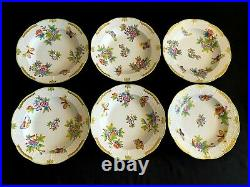 HEREND PORCELAIN HANDPAINTED QUEEN VICTORIA DINNER, SOUP AND DESSERT PLATES18pcs