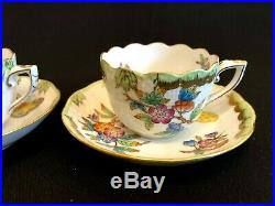 HEREND PORCELAIN HANDPAINTED QUEEN VICTORIA MOCHA CUP AND SAUCER (2. Pcs)711/VBO