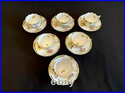 HEREND PORCELAIN HANDPAINTED QUEEN VICTORIA MOCHA CUP AND SAUCER (6pcs.)711/VBO