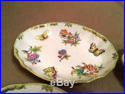 HEREND PORCELAIN HANDPAINTED QUEEN VICTORIA OVAL DISH 1212/VBO (8pcs.)