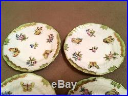 HEREND PORCELAIN HANDPAINTED QUEEN VICTORIA SMALL DESSERT PLATES 1512/VBO/8. Pcs
