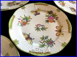 HEREND PORCELAIN HANDPAINTED QUEEN VICTORIA SMALL DINNER PLATES 521/VBO(6. Pcs.)