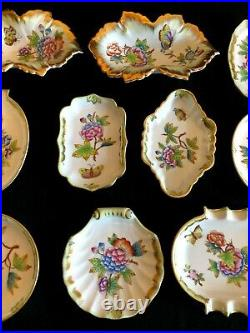 HEREND PORCELAIN HANDPAINTED QUEEN VICTORIA TRINKET DISH AND ASHTRAY (10pcs.)