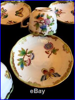 HEREND PORCELAIN QUEEN VICTORIA COFFEE CUP AND SAUCER (6+6 pcs.) 711/VBO