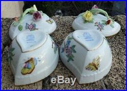 HEREND Porcelain Handpainted Queen Victoria Bonboniere 6003/VFI (2pcs.)