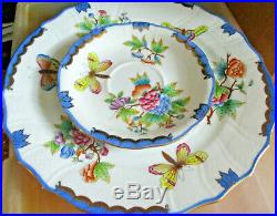 HEREND QUEEN VICTORIA BLUE 3 pc Place Setting NewithNever Used Orig. $500+ Hungary