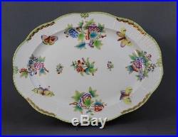HEREND QUEEN VICTORIA PORCELAIN Serving Platter, Medium 14 in, tray green border