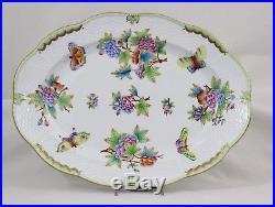 HEREND QUEEN VICTORIA PORCELAIN Serving Platter, Turkey, Small, green border
