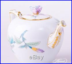 HEREND QUEEN VICTORIA ROYAL GARDEN TEAPOT, BUTTERFLY LID, brand new boxed, EVICTF2