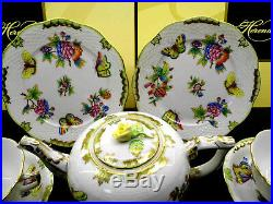 HEREND QUEEN VICTORIA TEA SET FOR TWO, with large cups 10fl oz hold, BRAND NEW BOX