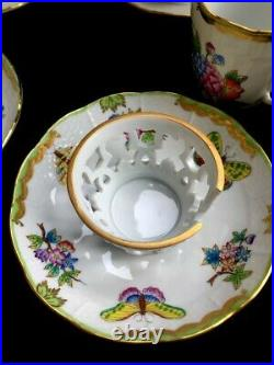 HEREND QUEEN VICTORIA TREMBLEUSE CUPS AND SAUCERS MINT CONDITION! Set of 10