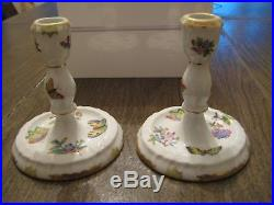 HEREND Queen Victoria Pair Candlesticks