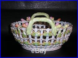 HEREND porcelain Bunch of Tulips Pierced Trellis Basket Queen Victoria Design