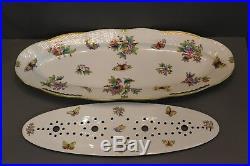 Herend 24 Queen Victoria (Green border) pattern fish platter with strainer
