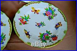 Herend 4 pcs dinner plates Queen Victoria VBO pattern handpainted shape 1525