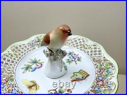 Herend #7572/VBO Queen Victoria Pierced Openwork 2-Tier Dessert Server 15 Bird