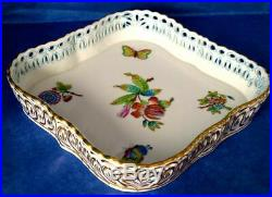 Herend Beautiful QUEEN VICTORIA Tray Hand Painted & Reticulated, Rectangular