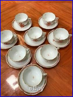 Herend Chinese Bouquet RUST large full size COFFEE set for 8 (16 pc) PRISTINE
