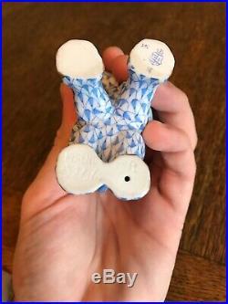 Herend Hungarian Blue Fishnet Baby Elephant 3 1/2 Figurine (15266)