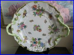 Herend Hungary Queen Victoria 1172/VBO Handpainted Chop Plate Handled Tray 12.5