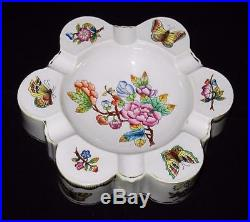 Herend, Hungary, Queen Victoria, Green Border, 6 Holder Ashtray, 6