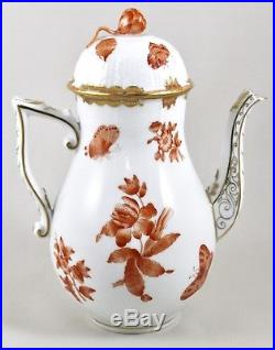 Herend Porcelain Fortuna/queen Victoria Rust Vboh Coffee Pot 477 1st Mint