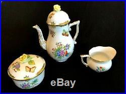 Herend Porcelain Handpainted Queen Victoria Coffee Pot, Sugar Bowl, Milk Jug