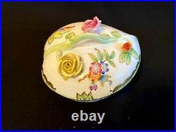 Herend Porcelain Handpainted Queen Victoria Heart Shaped Bonbon Box 6000/vbo