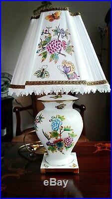 Herend Porcelain Handpainted Queen Victoria Lamp 7044/vbo (new Lampshade)