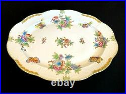Herend Porcelain Handpainted Queen Victoria Large Oval Turkey Platter 102/vbo