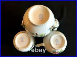 Herend Porcelain Handpainted Queen Victoria Large Tea Pot, Sugar Bowl, Milk Jug