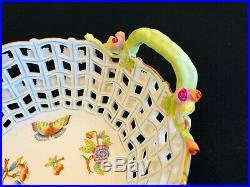 Herend Porcelain Handpainted Queen Victoria Open Weave Reticulated Basket ##