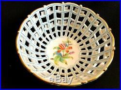 Herend Porcelain Handpainted Queen Victoria Open Work Basket 7473/vbo