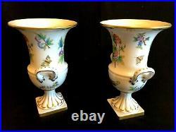 Herend Porcelain Handpainted Queen Victoria Pair Of Vase 6431/vbo